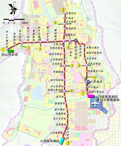太行路,马练营路敷设,途经朝阳街服装城,双塔公园,东太堡,太原南站
